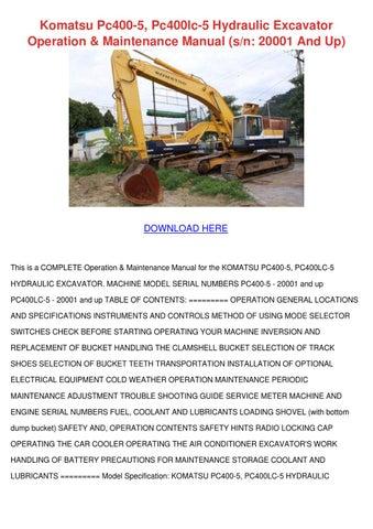 komatsu pc400-5, pc400lc-5 hydraulic excavator operation & maintenance  manual (s/n: 20001 and up)