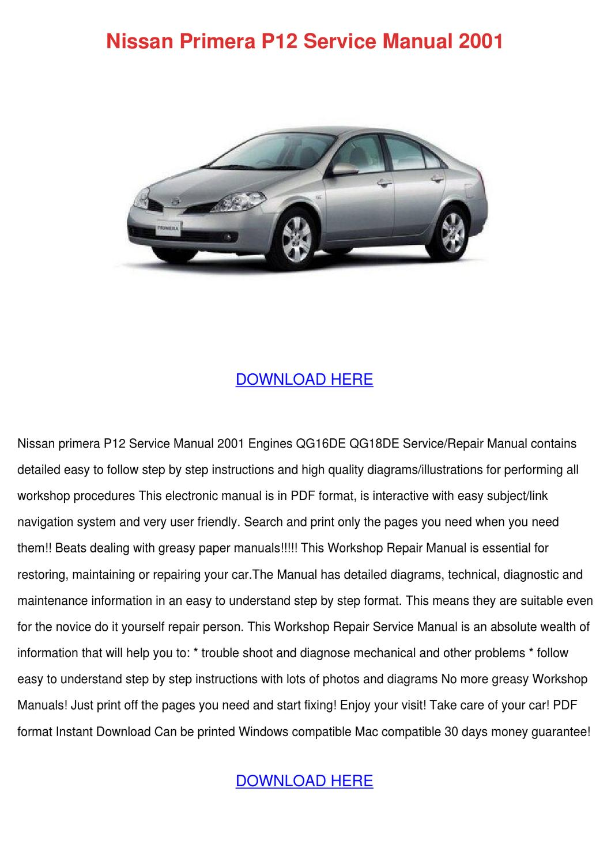 Nissan Primera P12 Service Manual 2001 by JulietHetrick - issuu