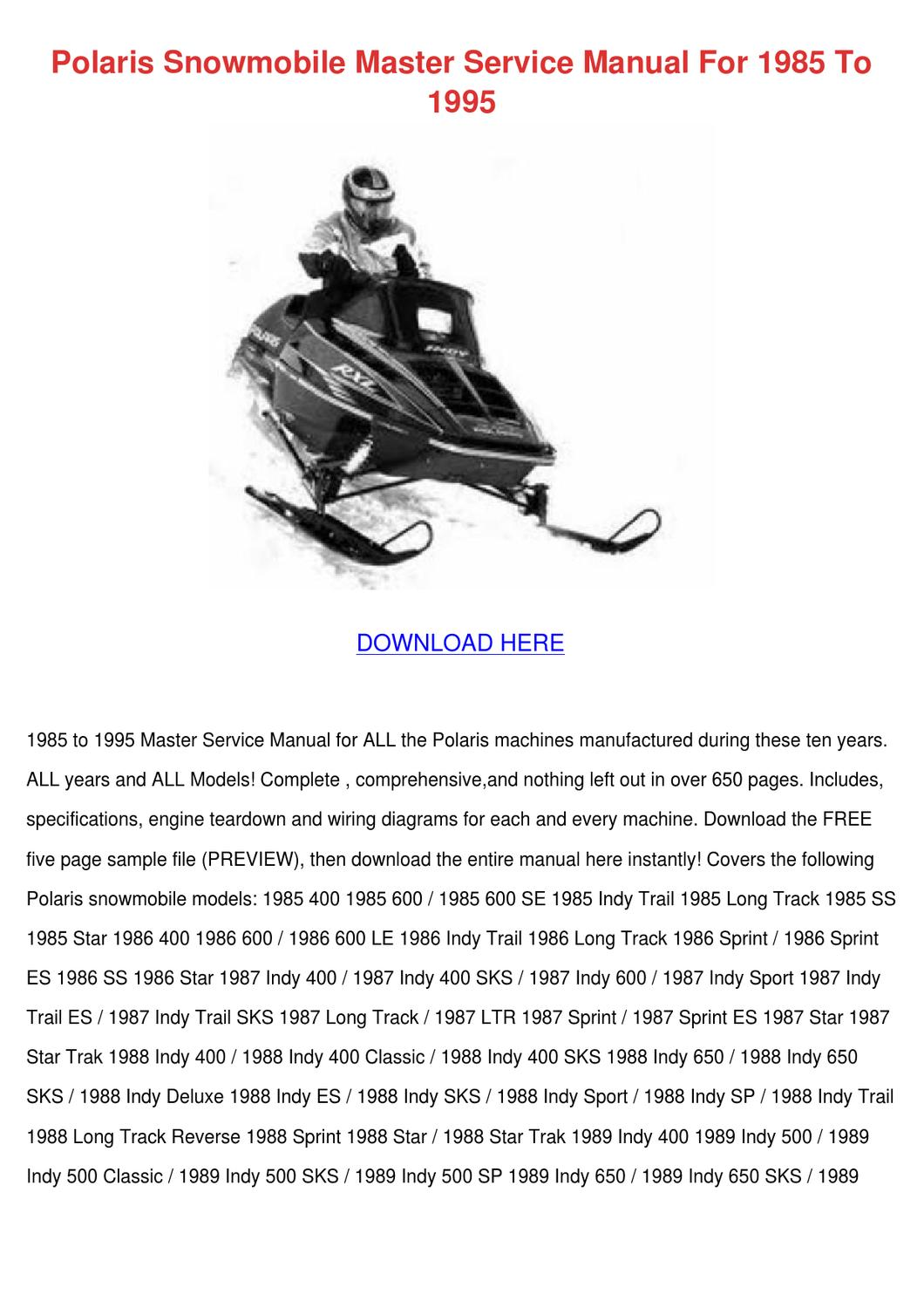 Polaris Snowmobile Master Service Manual For By Debbrachin