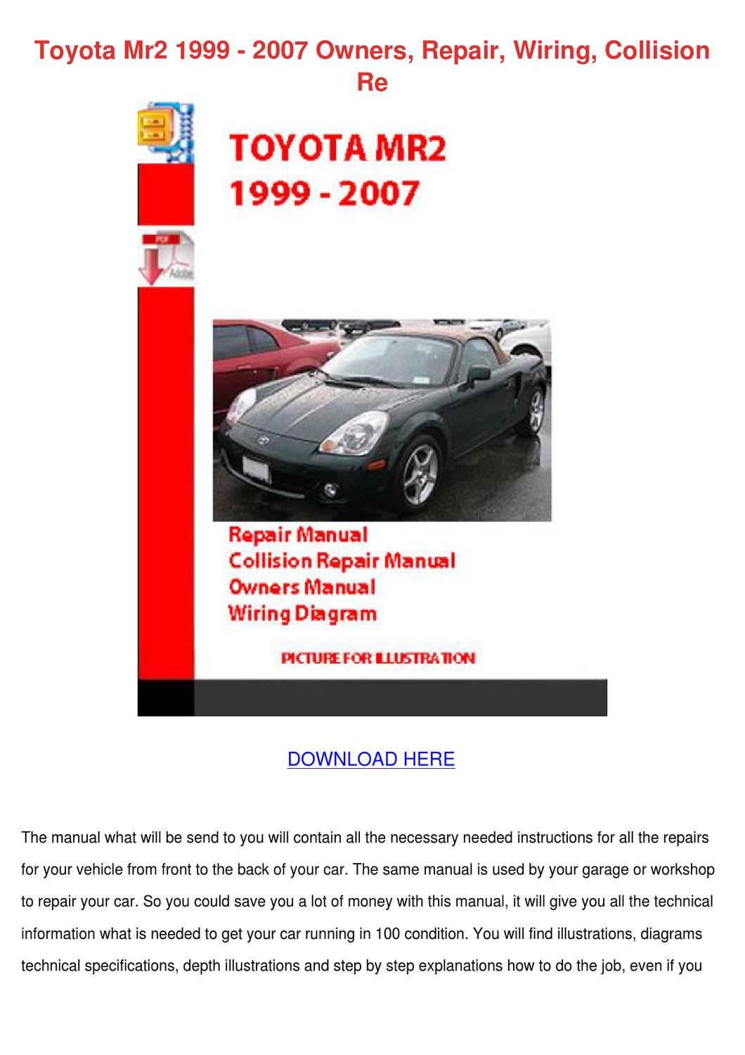 Toyota Mr2 1999 2007 Owners Repair Wiring Col By Taniasinger Issuu