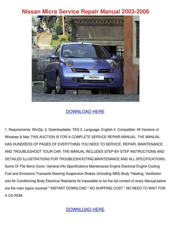 Nissan Micra Service Repair Manual 2003 2006 by RonReeves - issuu