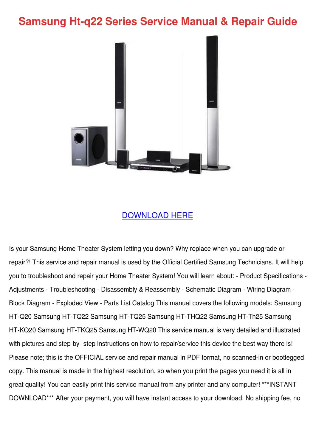Samsung Ht Q22 Series Service Manual Repair G By Greggforsythe Issuu Wiring Diagram For Wireless Printer