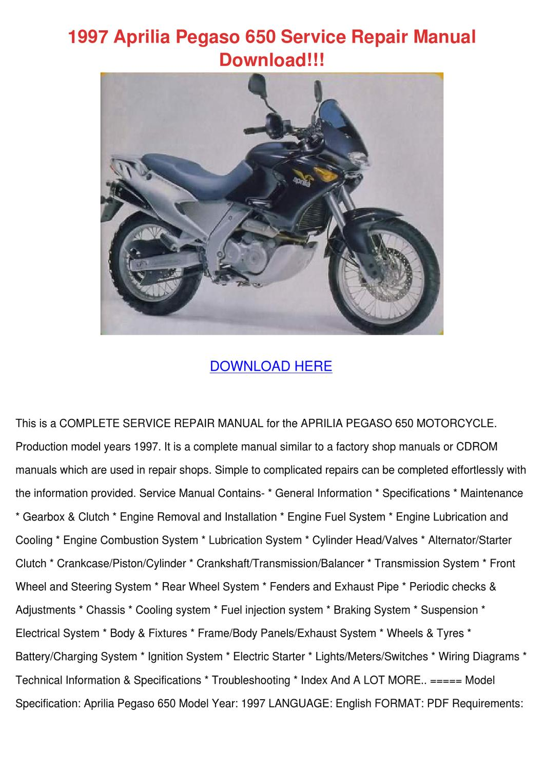1997 Aprilia Pegaso 650 Service Repair Manual