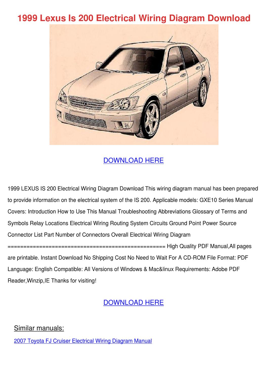 1999 Lexus Is 200 Electrical Wiring Diagram D By
