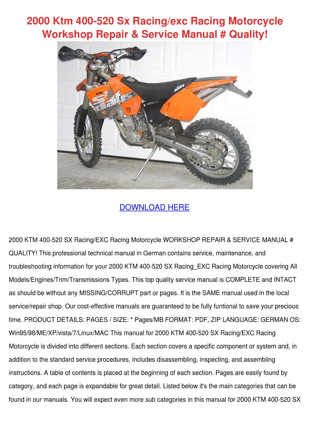 2000 Ktm 400 520 Sx Racingexc Racing Motorcyc By Marcelomast Issuu Wiring Diagram 2006 200 Exc