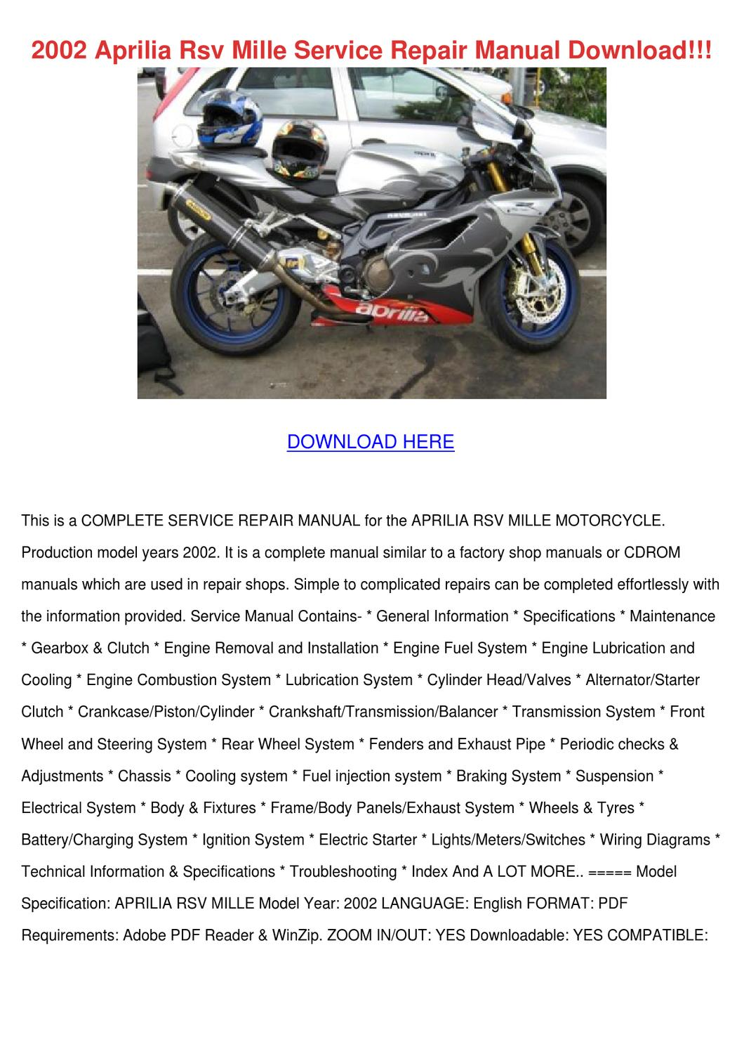 Aprilia Rsv Mille Wiring Diagram Simple Electrical Schematics 2002 Service Repair Manual By Hassanfortin Issuu R