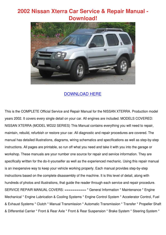 2002 Nissan Xterra Car Service Repair Manual by MarceloMast - issuu