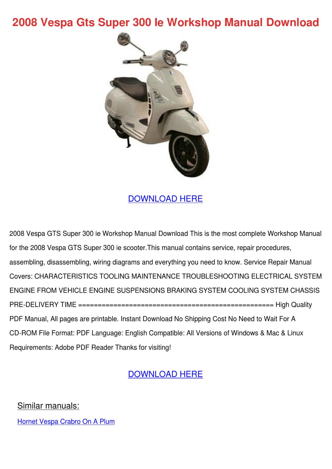 2008 Vespa Gts Super 300 Ie Workshop Manual D by MarceloMast ... on