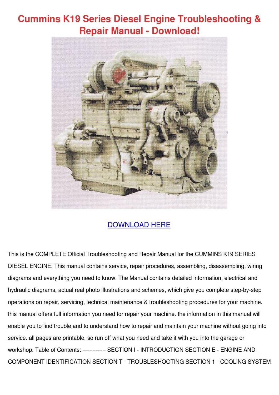 Cummins K19 Series Diesel Engine Troubleshoot by