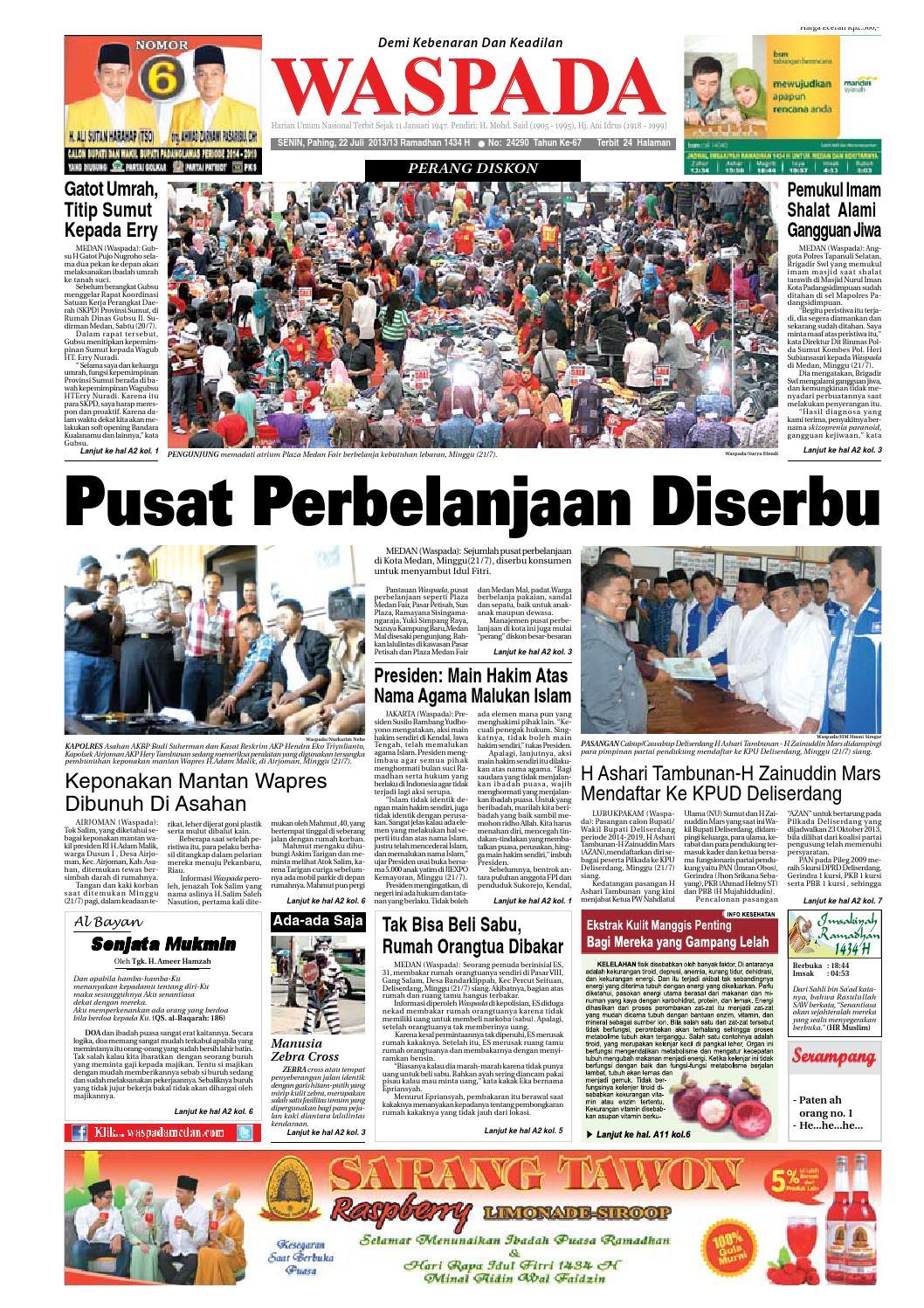 Waspada Senin 22 Juli 2013 By Harian Issuu Produk Umkm Bumn Bolu Gulung Hj Enong