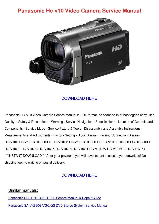 panasonic hc v10 video camera service manual by
