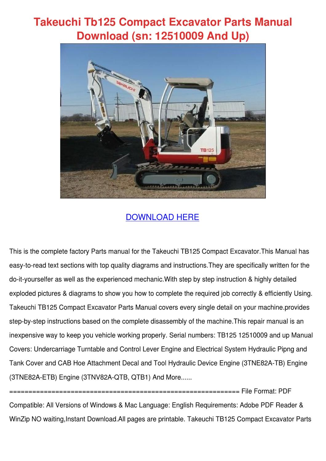 takeuchi tb125 compact excavator parts manual by. Black Bedroom Furniture Sets. Home Design Ideas