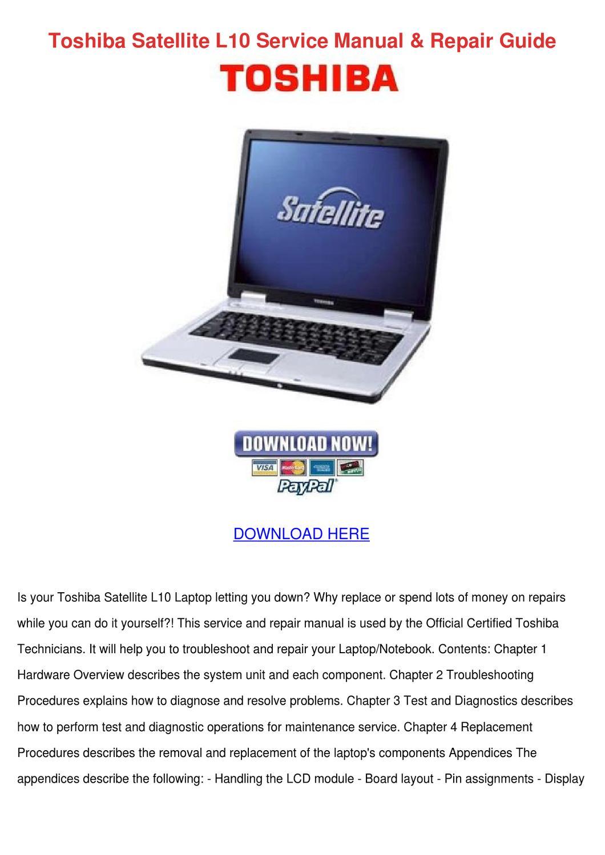 Toshiba Satellite L10 Service Manual Repair G By
