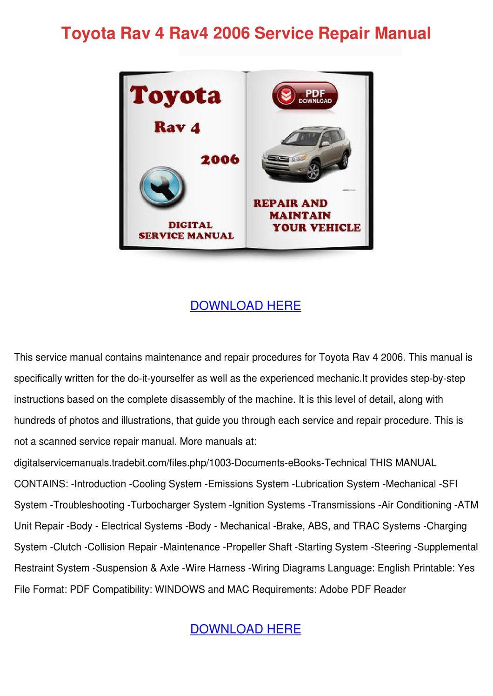 Toyota Rav 4 Rav4 2006 Service Repair Manual by KelleHewitt - issuu