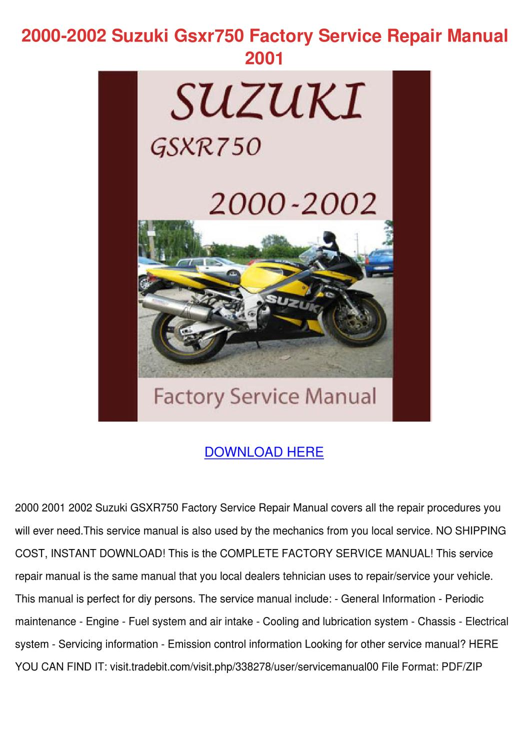2000 2002 suzuki gsxr750 factory service repa by andyyocum. Black Bedroom Furniture Sets. Home Design Ideas