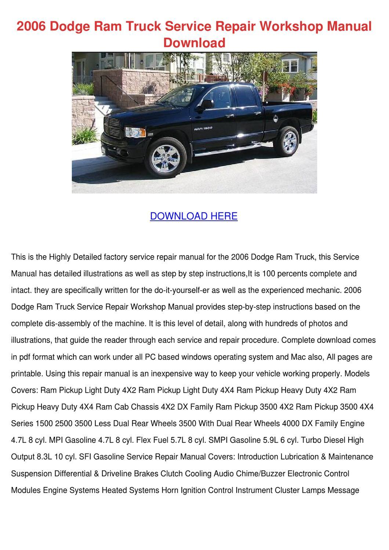 2006 Dodge Ram Truck Service Repair Workshop by ErvinDemarco - issuu