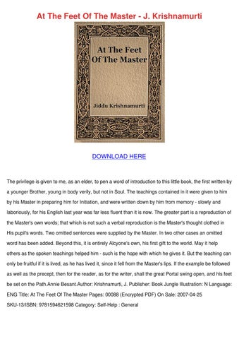 PDF At the Feet of the Master Free Books - Video Dailymotion