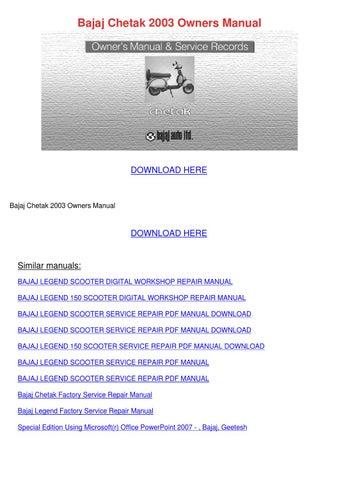 bajaj discover repair manual