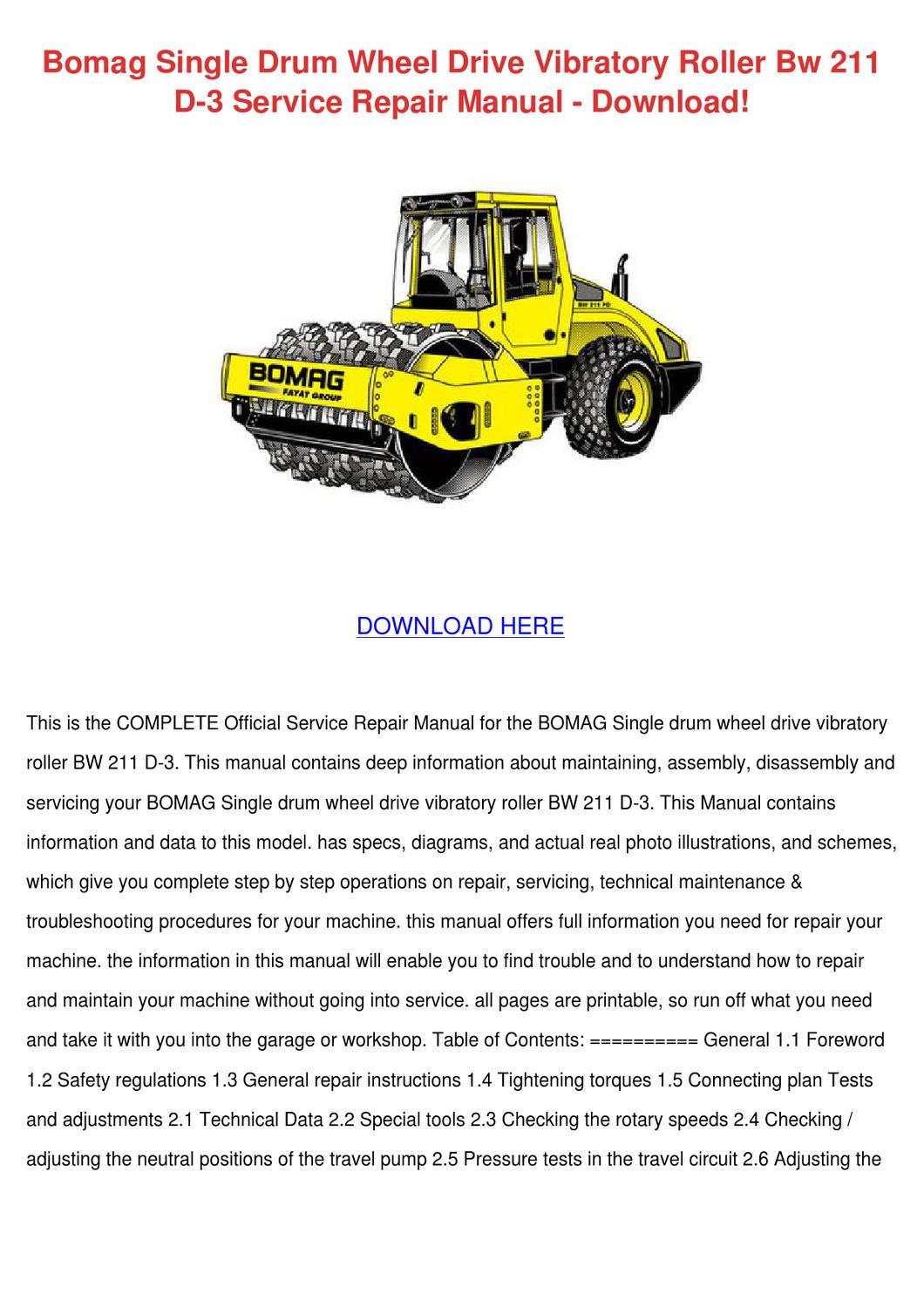 Bomag Single Drum Wheel Drive Vibratory Rolle by ErvinDemarco - issuu