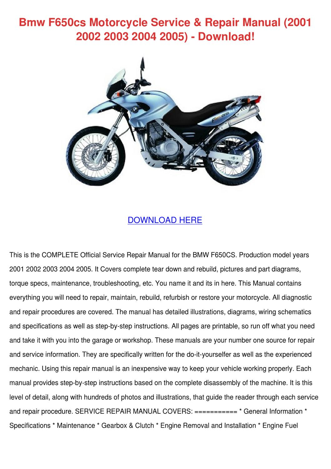 Bmw F650cs Motorcycle Service Repair Manual 2 By border=