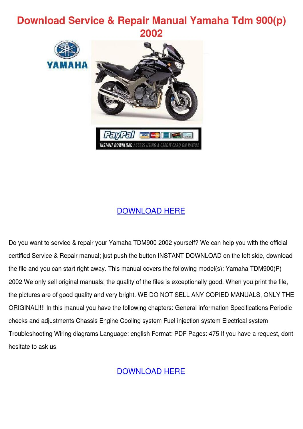 Download Service Repair Manual Yamaha Tdm 900 By