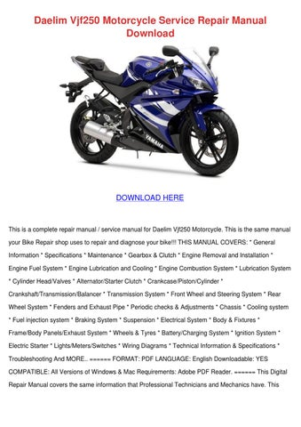Enjoyable Daelim Vjf250 Motorcycle Service Repair Manua By Dennychadwick Issuu Wiring Digital Resources Arguphilshebarightsorg