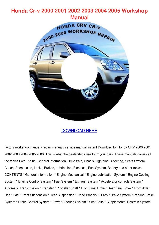 Honda Cr V 2000 2001 2002 2003 2004 2005 Work by MonserrateMorales ...