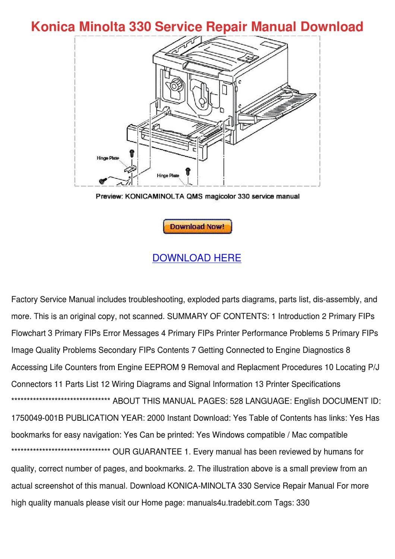 konica minolta qms magicolor 2200 series service repair manual Array - konica  minolta 330 service repair manual down by angelowooten issuu rh issuu ...
