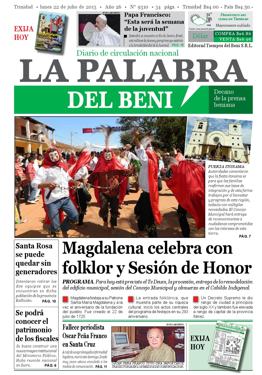 La Palabra del Beni, 22 de Julio de 2013 by La Palabra del Beni - issuu