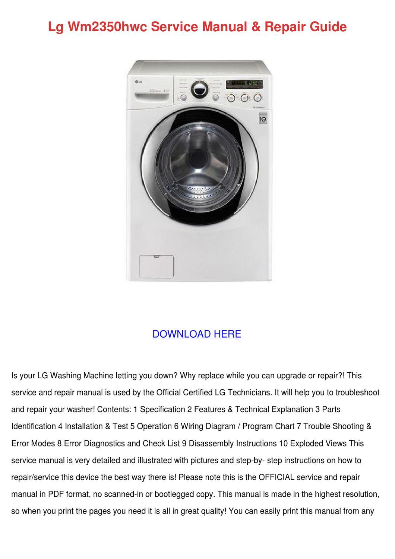 Lg Wm2350hwc Service Manual Repair Guide By Angelowooten Issuu Washing Machine Wiring Diagram