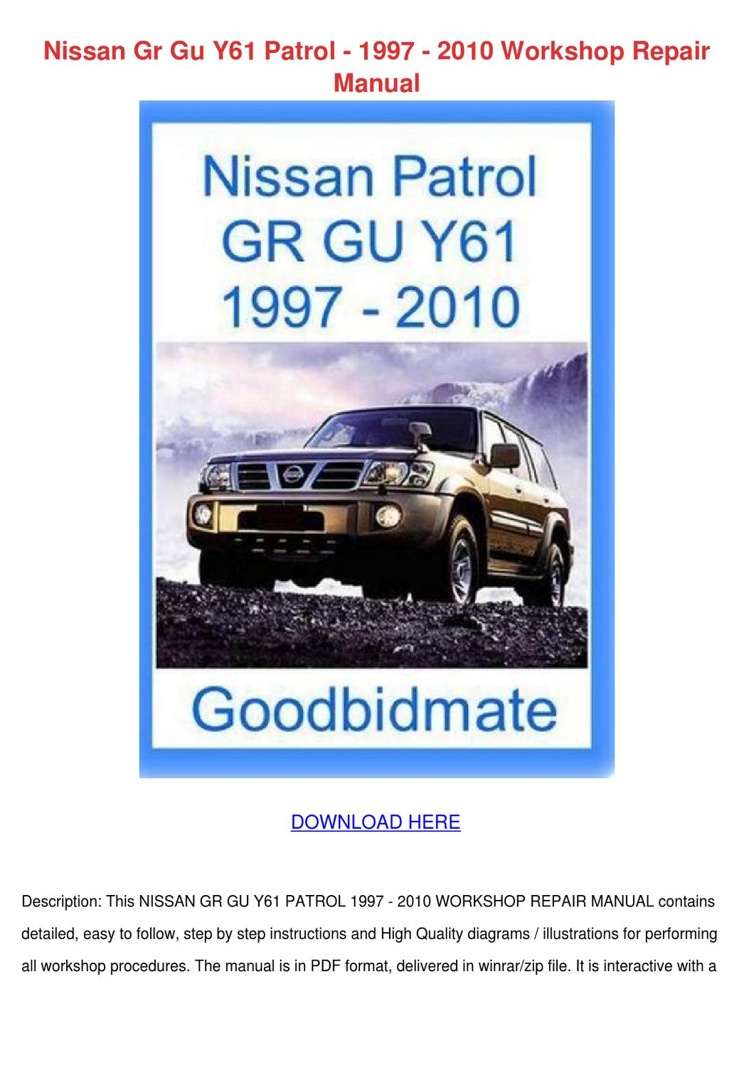 Nissan Gr Gu Y61 Patrol 1997 2010 Workshop Re By