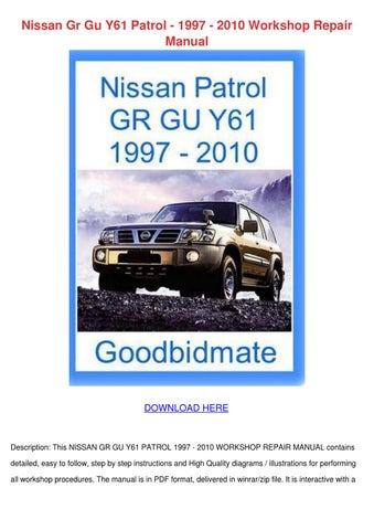 Nissan Gr Gu Y61 Patrol 1997 2010 Workshop Re by JordanHerr - issuu Nissan Patrol Wiring Diagram