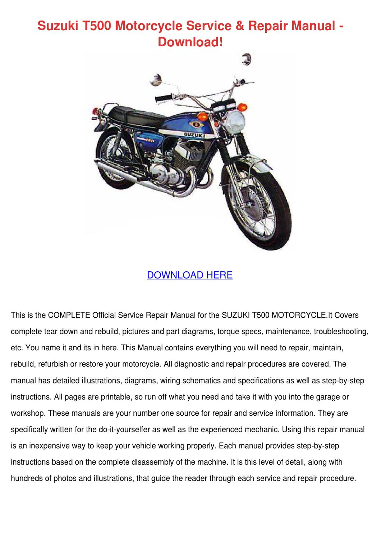 suzuki t500 motorcycle service repair manual