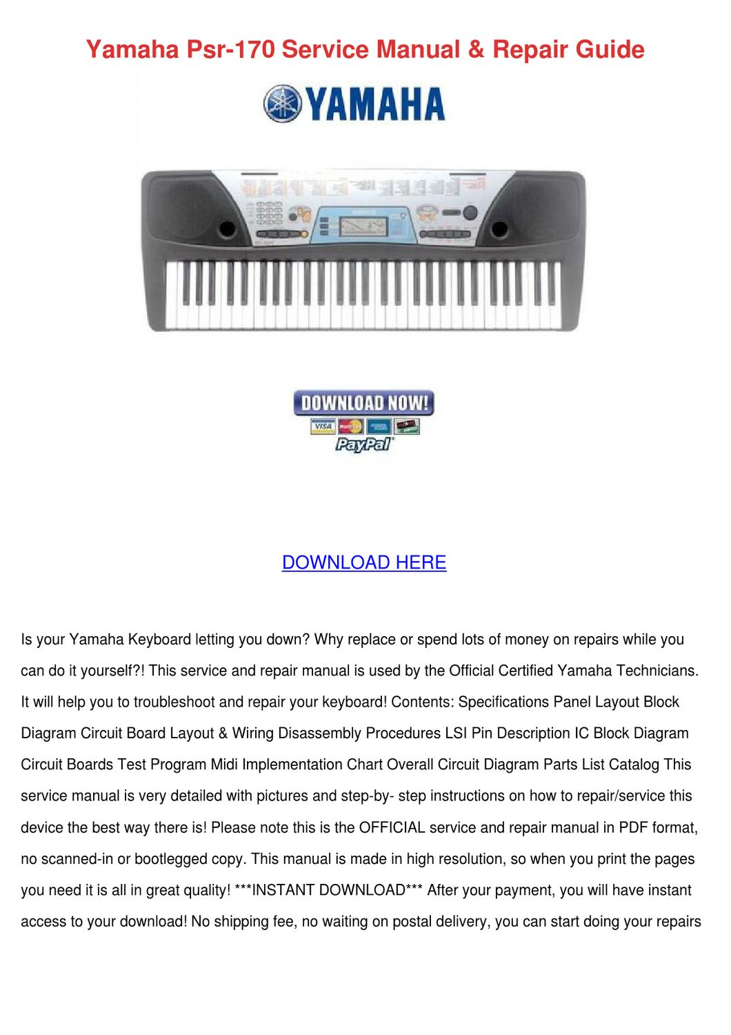 Yamaha Keyboard Service Manual Psr E
