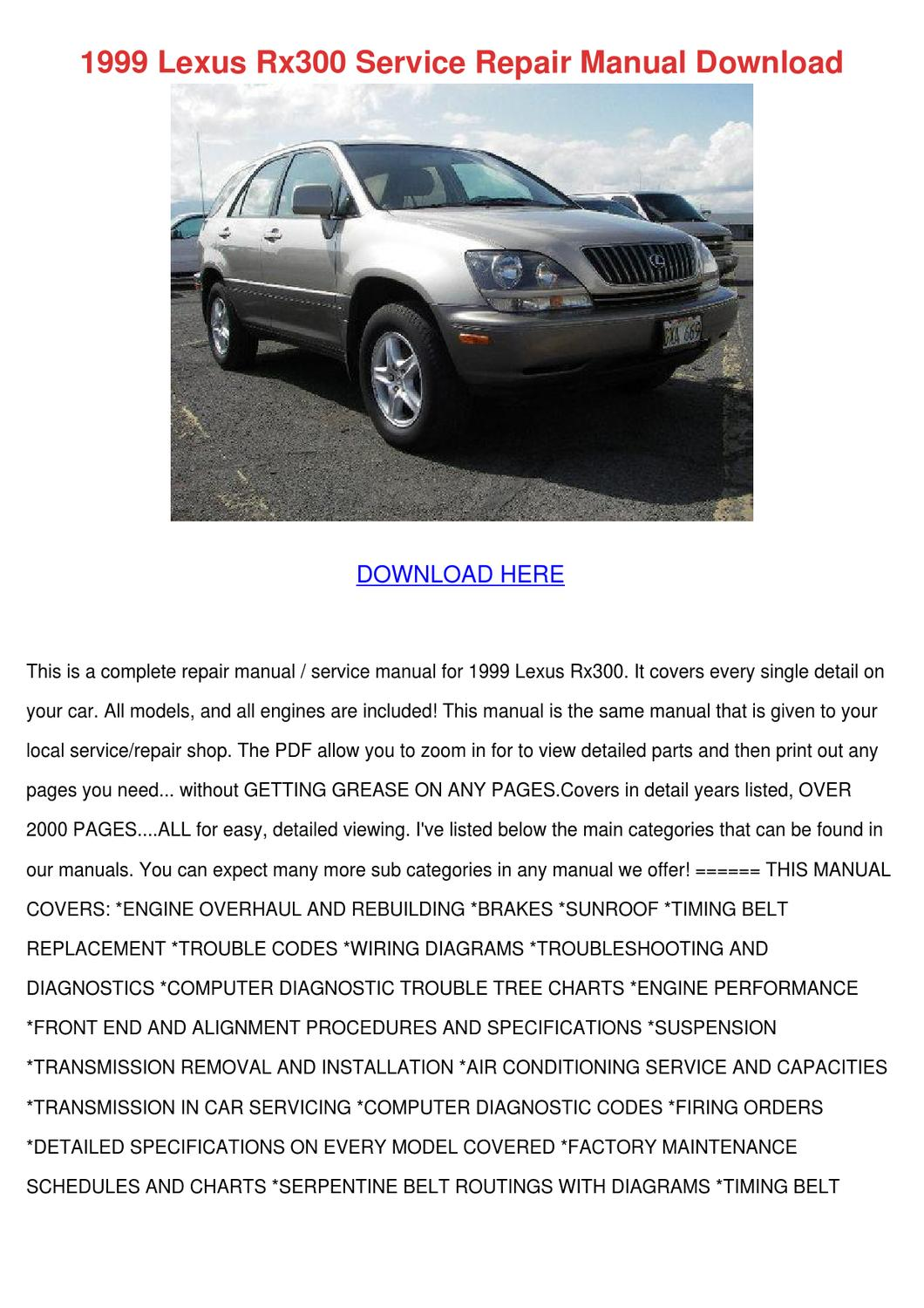 1999 Lexus Rx300 Service Repair Manual Downlo by GinaFitts - issuu