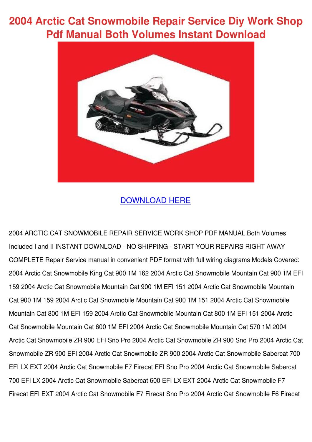 2004 Arctic Cat Snowmobile Repair Service Diy By Gitaflannery Issuu 600 Efi Wiring Diagram