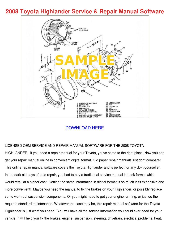 2008 toyota highlander repair manual pdf