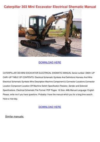Caterpillar 303 Mini Excavator Electrical She By GinaFitts