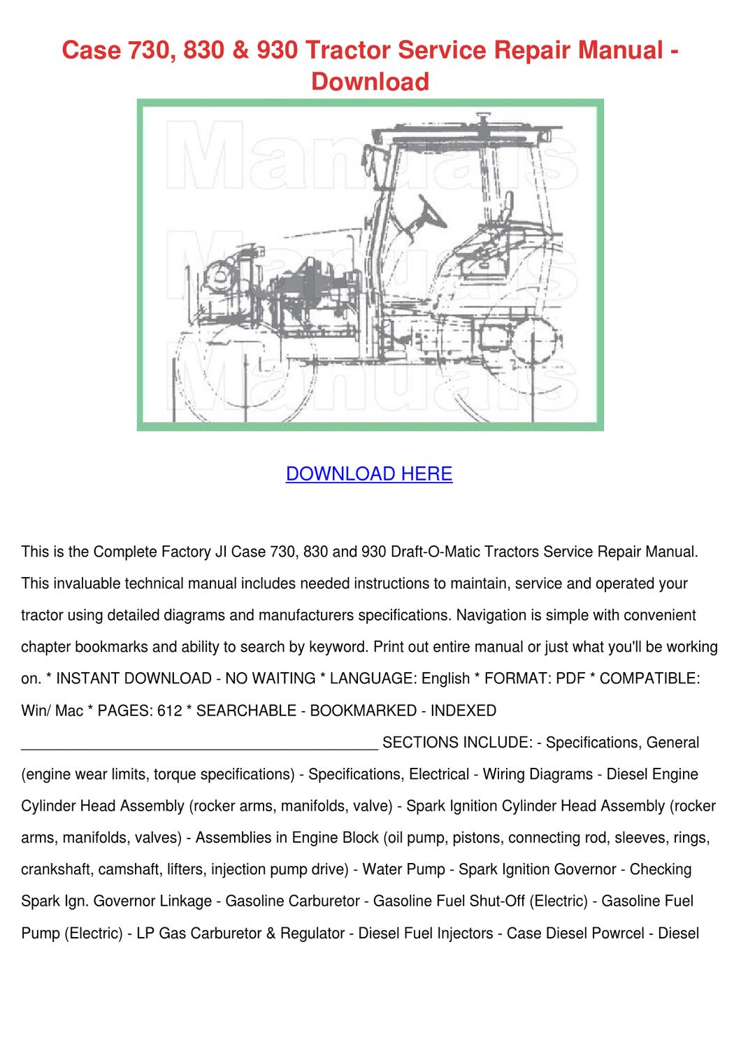 Case 730 830 930 Tractor Service Repair Manua By