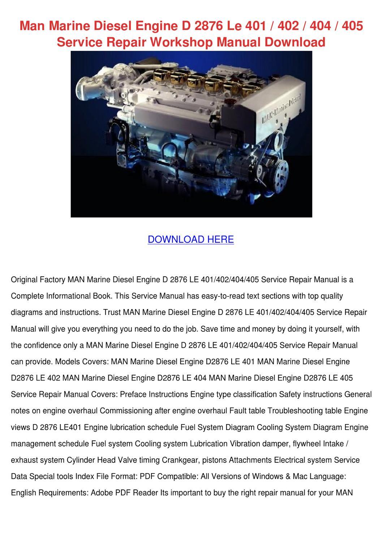 Man Marine Diesel Engine D 2876 Le 401 402 40 By Lupejensen Issuu Diagram Pistons Schedule