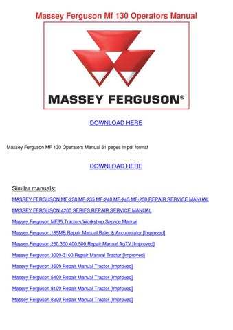 massey ferguson 235 repair manuals free download