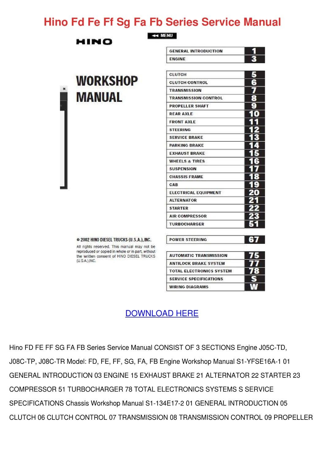 Hino Fd Fe Ff Sg Fa Fb Series Service Manual By