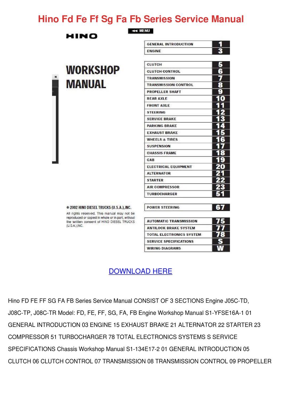 hino fd fe ff sg fa fb series service manual by. Black Bedroom Furniture Sets. Home Design Ideas
