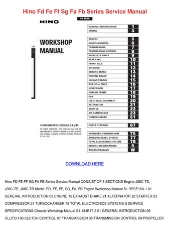 Page 1. Hino Fd Fe Ff Sg Fa Fb Series Service Manual