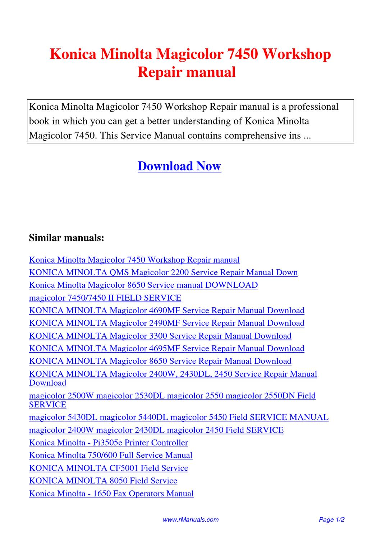 Konica Minolta Magicolor 7450 Workshop Repair manual.pdf by David Zhang -  issuu