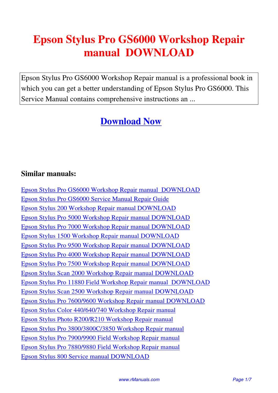 Epson Stylus Pro GS6000 Workshop Repair manual.pdf by David Zhang - issuu