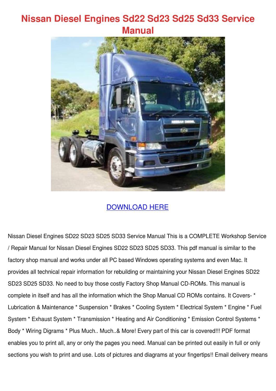 Nissan Diesel Engines Sd22 Sd23 Sd25 Sd33 Ser by CameronBellamy ...