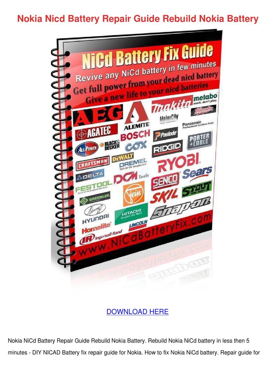 Nokia Nicd Battery Repair Guide Rebuild Nokia by HassanFritz - issuu