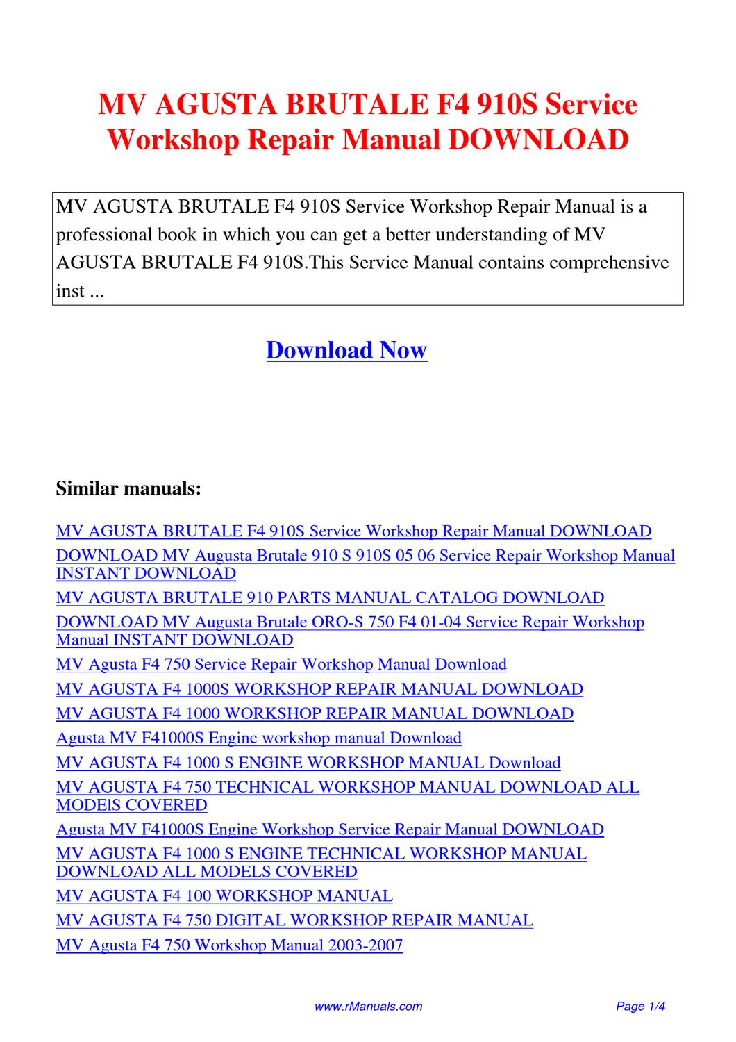 MV AGUSTA BRUTALE F4 910S Service Workshop Repair Manual.pdf by David Zhang  - issuu