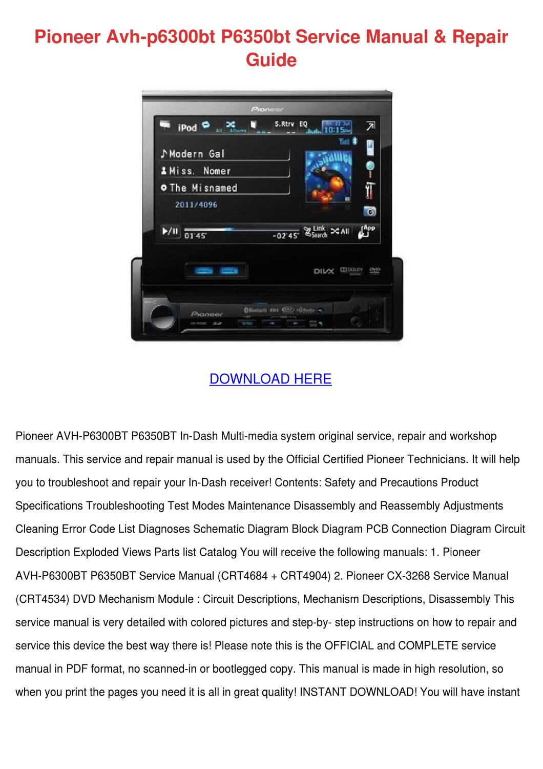 pioneer avh p6300bt p6350bt service manual re by hassanfritz - issuu  issuu